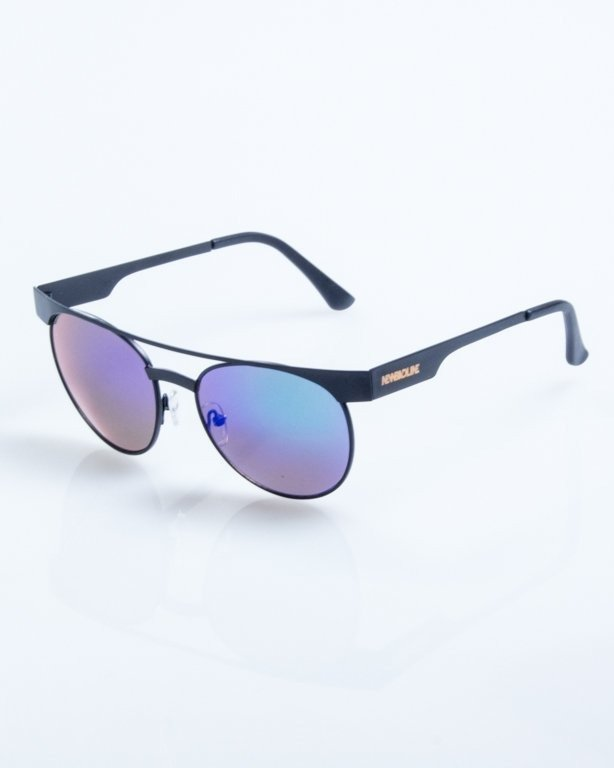 OKULARY AMBER BLACK GREEN MIRROR 786
