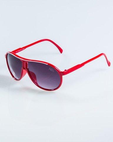 OKULARY ROUND RED BLACK 912