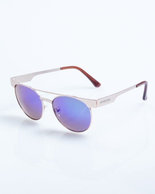 OKULARY AMBER GOLD GREEN MIRROR 784