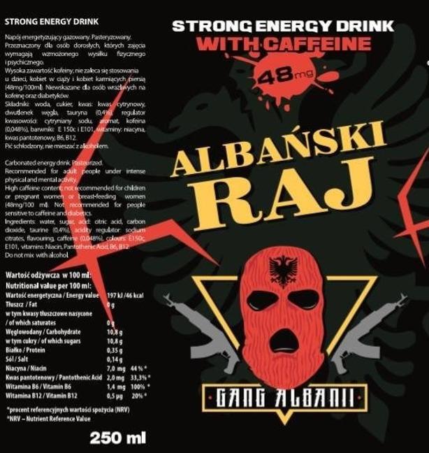 ALBAŃSKI RAJ STRONG ENERGY DRINK 1 SZT