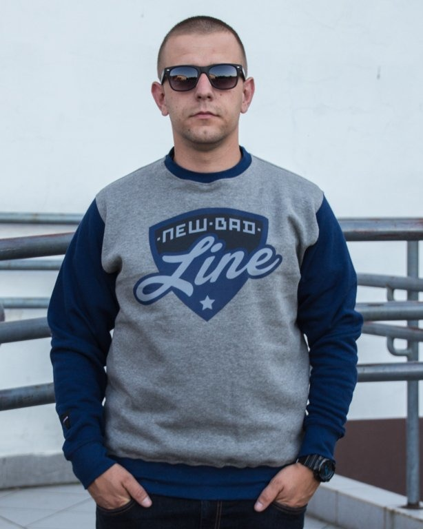 BLUZA CREWNECK SHIELD GREY-NAVY