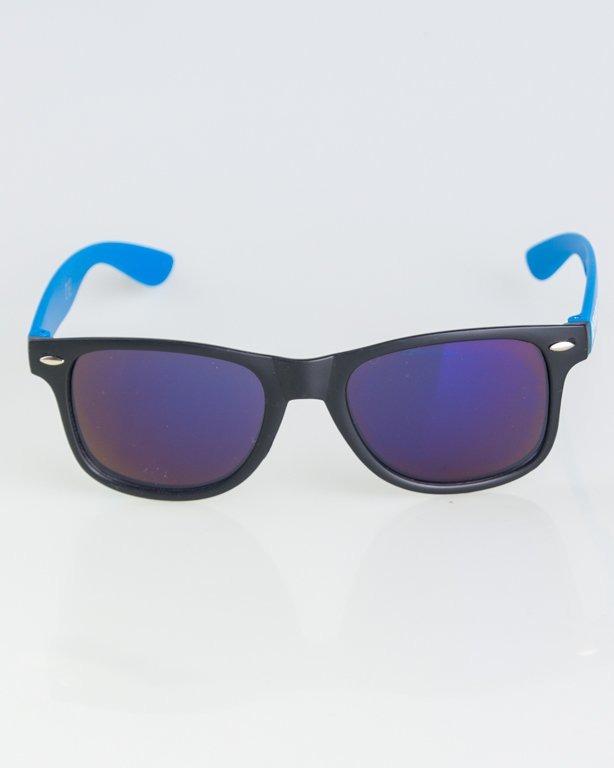 OKKULARY CLASSIC HALF BLACK-BLUE MAT BLUE MIRROR 1269