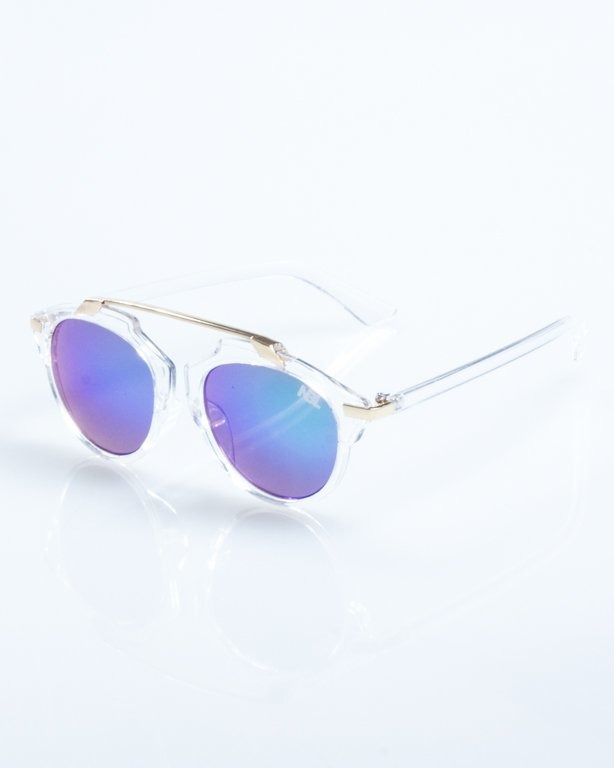 OKULARY BAD CLEAR-GOLD GREEN MIRROR 815