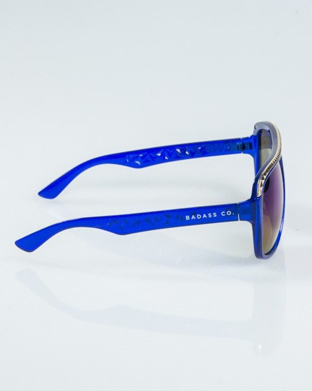 OKULARY BRILLIANT GOLD-BLUE FLASH BLUE MIRROR 1108