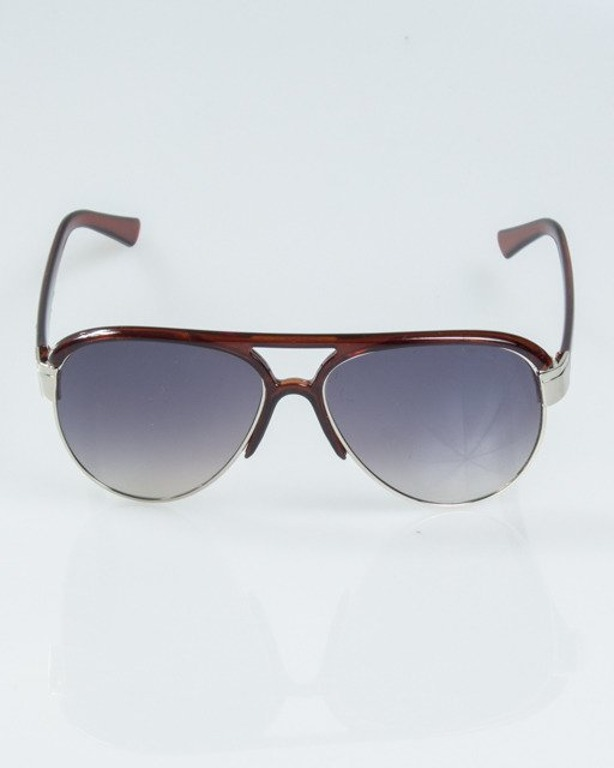 OKULARY BUCKLE SILVER-BROWN METAL FLASH HALF GREY 1179