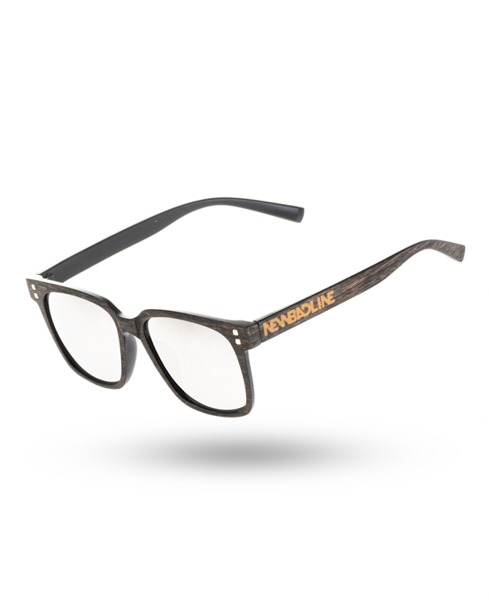 OKULARY CHECKMATE BROWN WOOD SILVER MIRROR 00-70