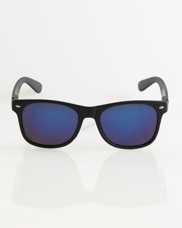 OKULARY CLASSIC BLACK MAT BLUE MIRROR 009