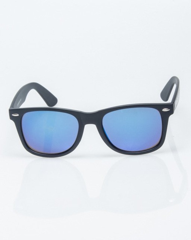 OKULARY CLASSIC BLACK MAT BLUE MIRROR 1218