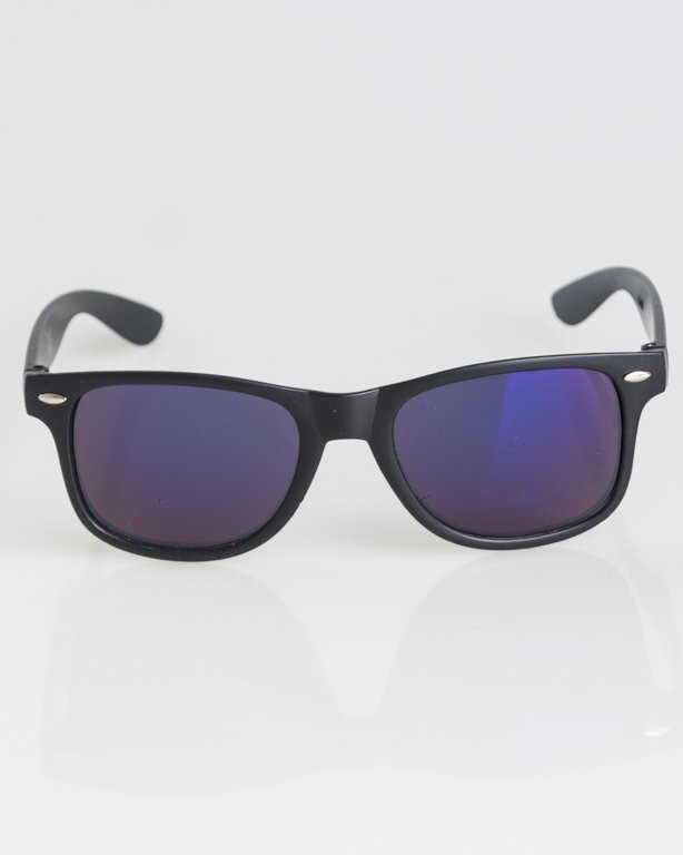 OKULARY CLASSIC BLACK MAT BLUE MIRROR 1286