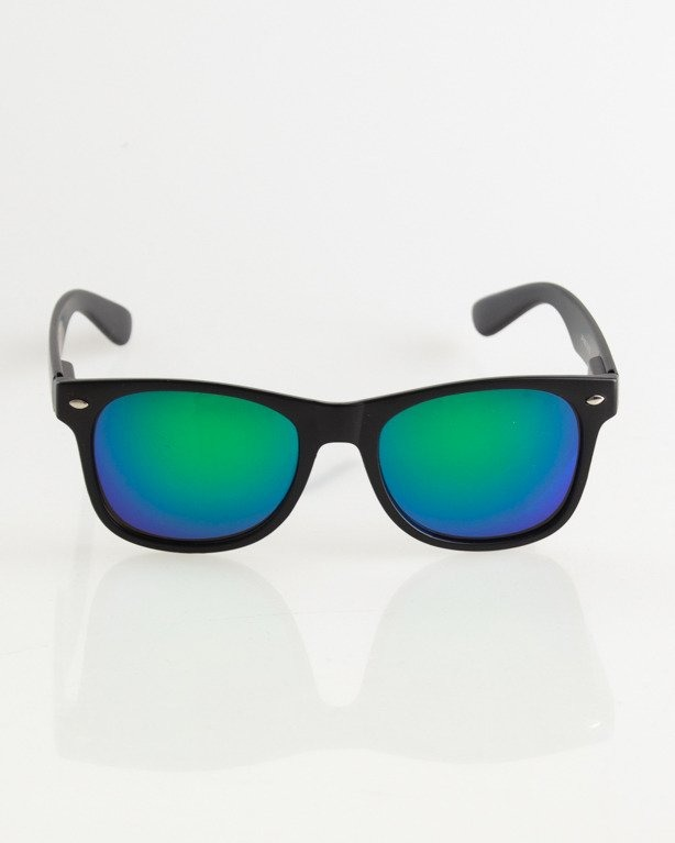 OKULARY CLASSIC BLACK MAT GREEN MIRROR 012