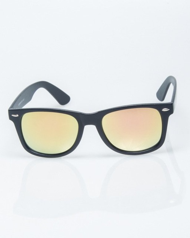 OKULARY CLASSIC BLACK MAT PINK-YELLOW MIRROR 1217