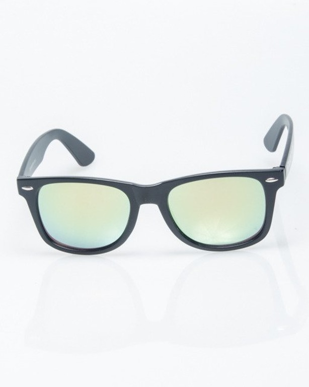 OKULARY CLASSIC BLACK MAT YELLOW-PINK MIRROR 1203
