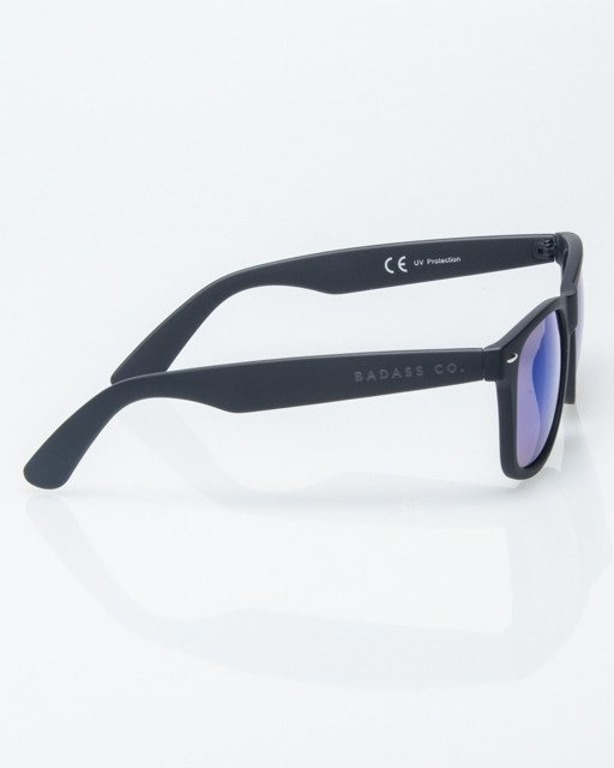 OKULARY CLASSIC BLACK RUBBER BLUE MIRROR 1215