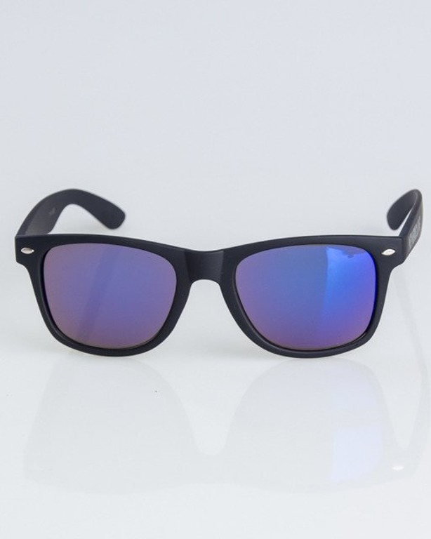 OKULARY CLASSIC BLACK RUBBER BLUE MIRROR 1307