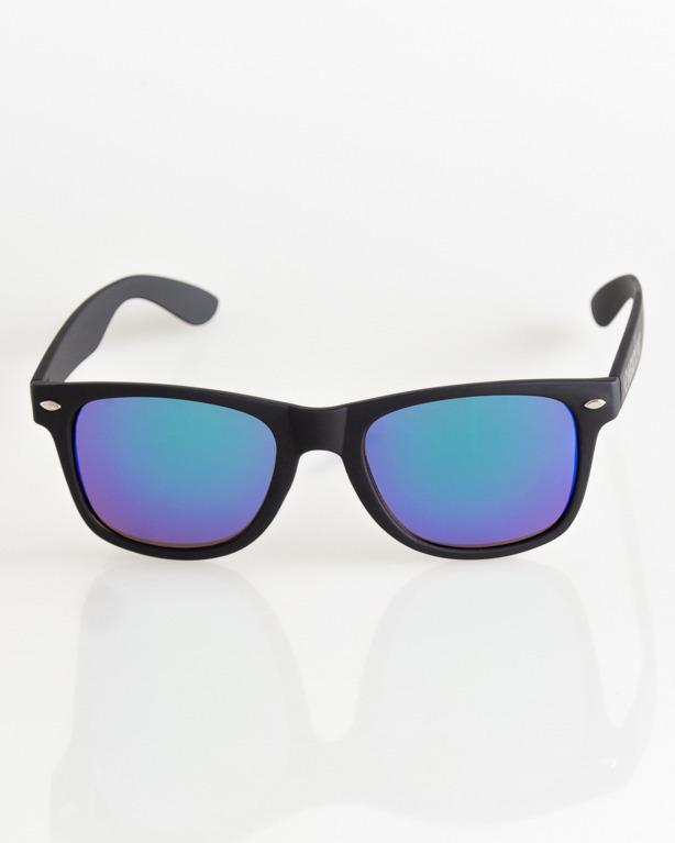 OKULARY CLASSIC BLACK RUBBER GREEN MIRROR 039