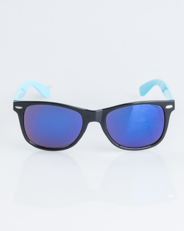 OKULARY CLASSIC HALF BLACK-BLUE FLASH BLUE MIRROR 1243