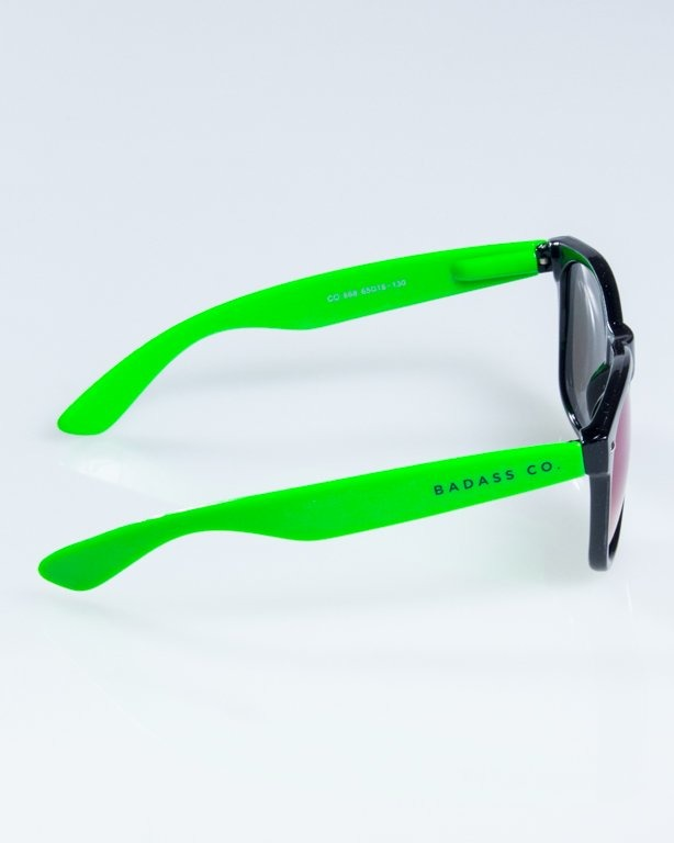 OKULARY CLASSIC HALF  BLACK-GREEN FLASH GREEN MIRROR 843