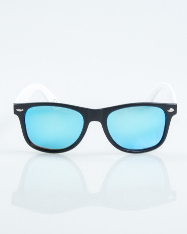 OKULARY CLASSIC HALF BLACK-WHITE MAT BLUE MIRROR POLARIZED 1025