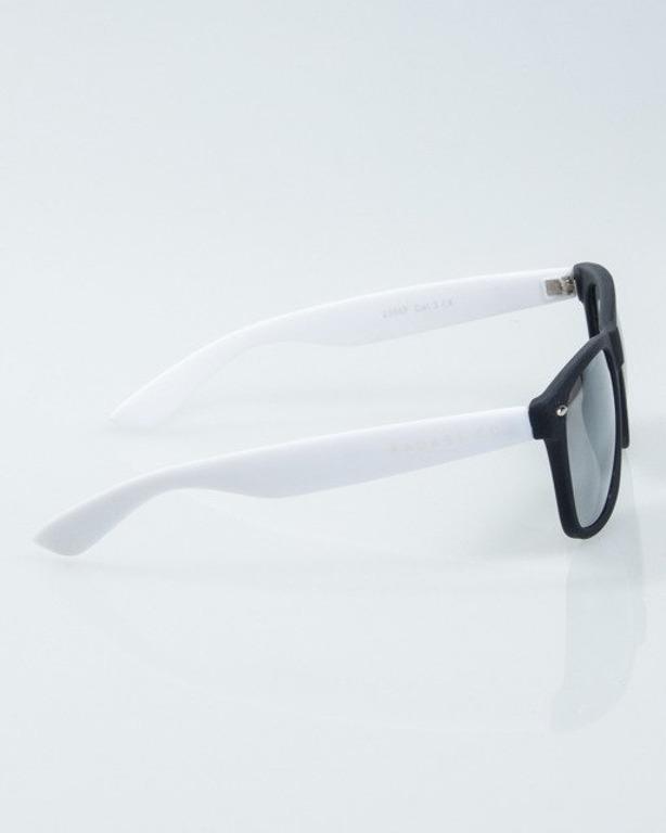 OKULARY CLASSIC HALF BLACK-WHITE RUBBER SILVER MIRROR 1011