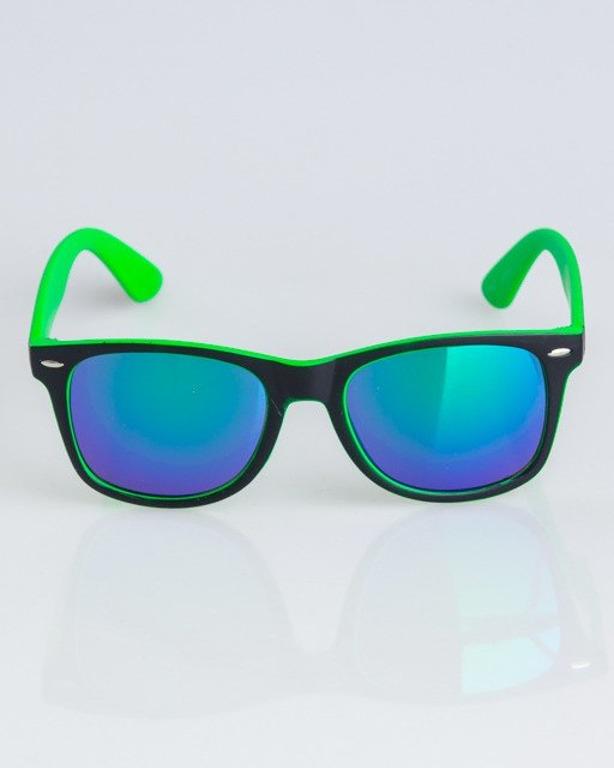 OKULARY CLASSIC INSIDE BLACK-GREEN MAT GREEN MIRROR 1336