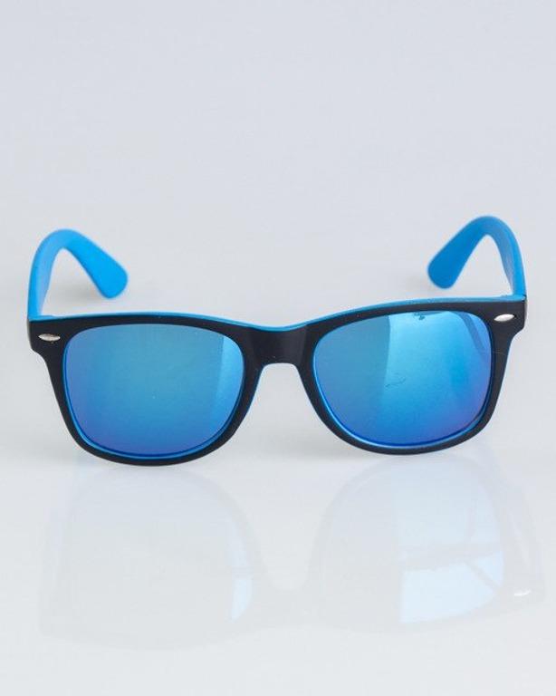 OKULARY CLASSIC INSIDE BLACK-LIGHT BLUE MAT BLUE MIRROR 1337