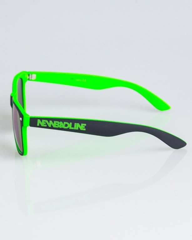 OKULARY CLASSIC INSIDE BLACK-NEON RUBBER GREEN MIRROR 1331