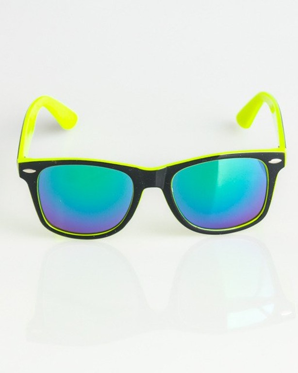 OKULARY CLASSIC INSIDE BLACK-NEON YELLOW FLASH GREEN MIRROR 1367