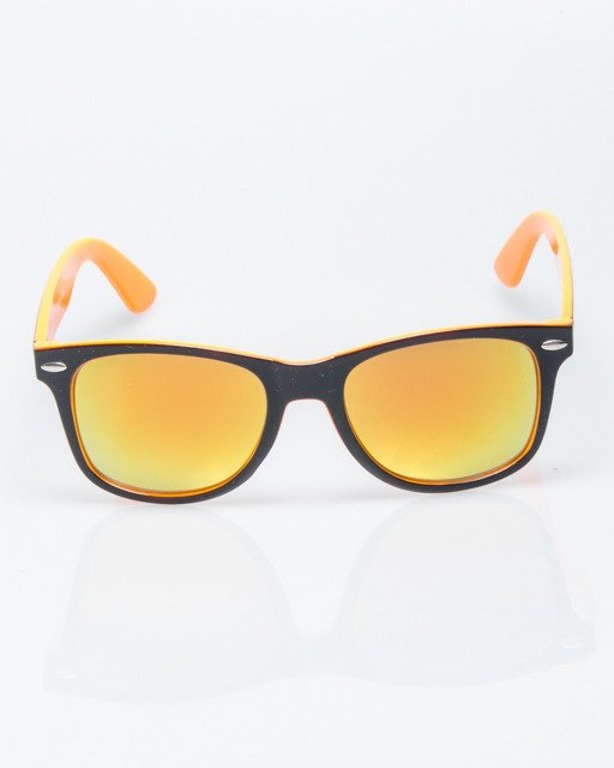 OKULARY CLASSIC INSIDE BLACK-ORANGE FLASH RED MIRROR 1200