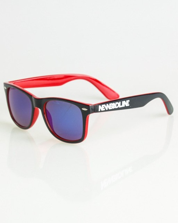 OKULARY CLASSIC INSIDE BLACK-RED FLASH BLUE MIRROR 1361