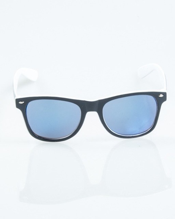 OKULARY CLASSIC INSIDE BLACK-WHITE MAT BLUE MIRROR 1031