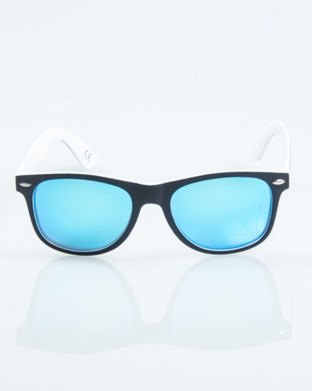 OKULARY CLASSIC INSIDE BLACK-WHITE MAT BLUE MIRROR POLARIZED 1026