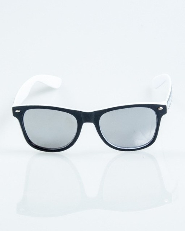 OKULARY CLASSIC INSIDE BLACK-WHITE MAT SILVER MIRROR 1032