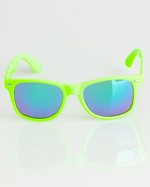 OKULARY CLASSIC NEON GREEN FLASH GREEN MIRROR 1344