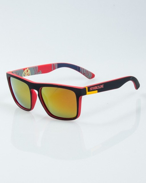 OKULARY COMIX BLACK-RED RUBBER RED MIRROR POLARIZED 1019