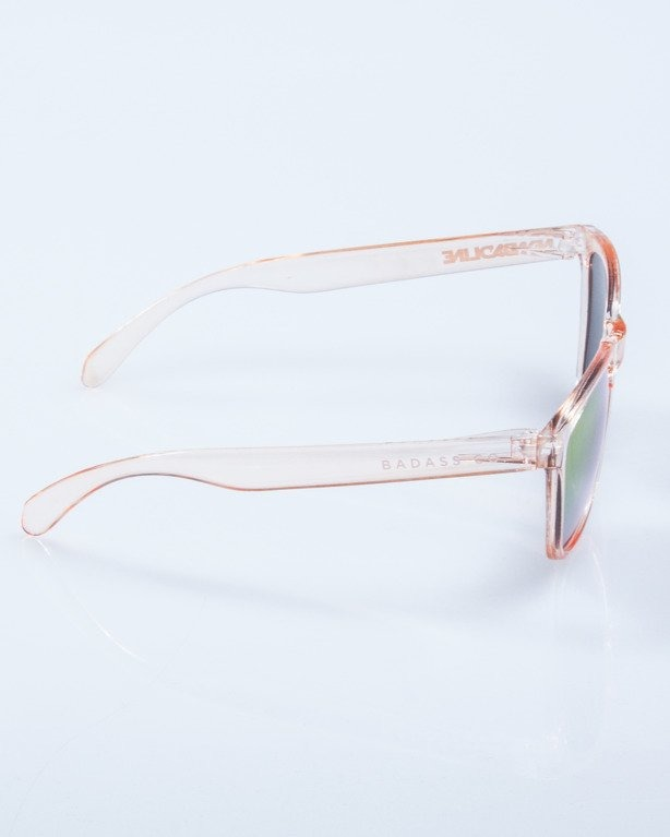 OKULARY CRYSTAL CLEAR PEACH RED MIRROR 593