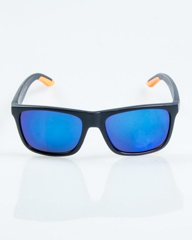 OKULARY FINISH BLACK-ORANGE MAT BLUE MIRROR 1043
