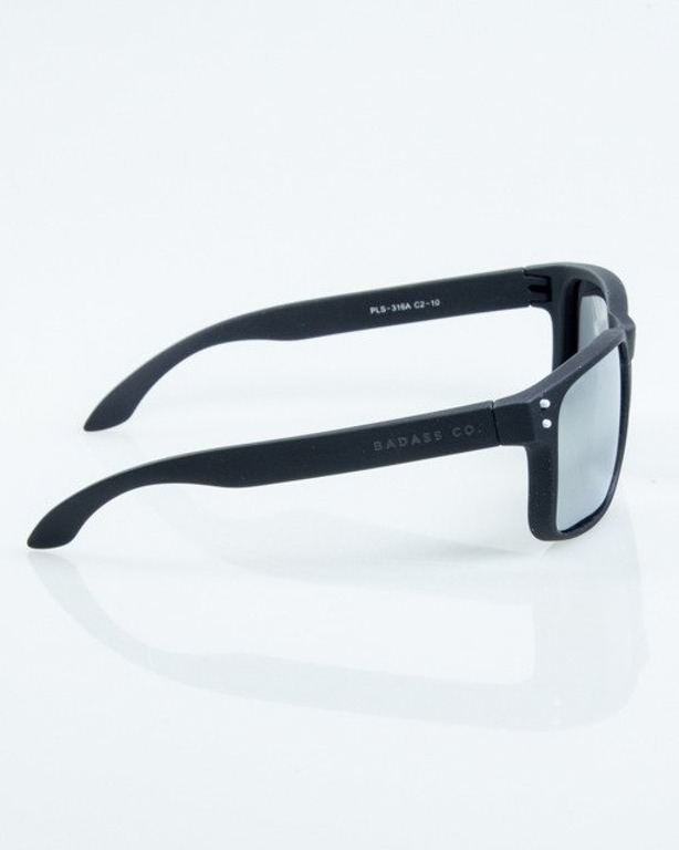 OKULARY FREESTYLE BLACK RUBBER SILVER MIRROR POLARIZED 1068