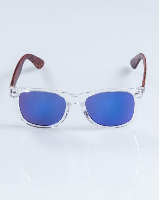 OKULARY HALF WOOD CLEAR-WOOD DARK BROWN BLUE MIRROR 904