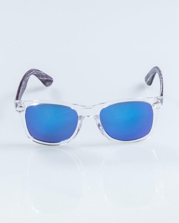OKULARY HALF WOOD CLEAR-WOOD GREY BLUE MIRROR 897