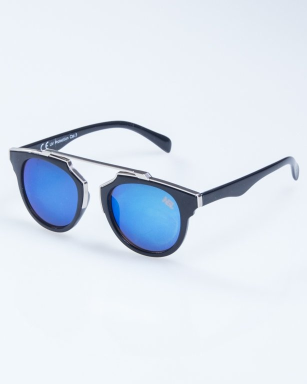 OKULARY LADY ROSH BLACK-SILVER BLUE MIRROR 927