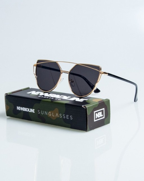 OKULARY QUEEN LADY GOLD-BLACK METAL BLACK 1082