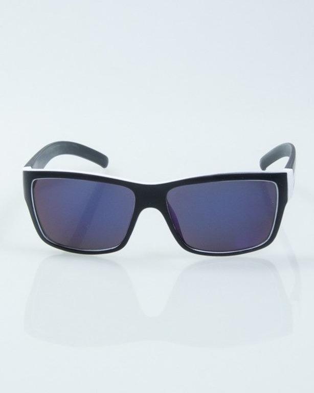 OKULARY SMOOTH BLACK-WHITE MAT BLUE MIRROR 1000