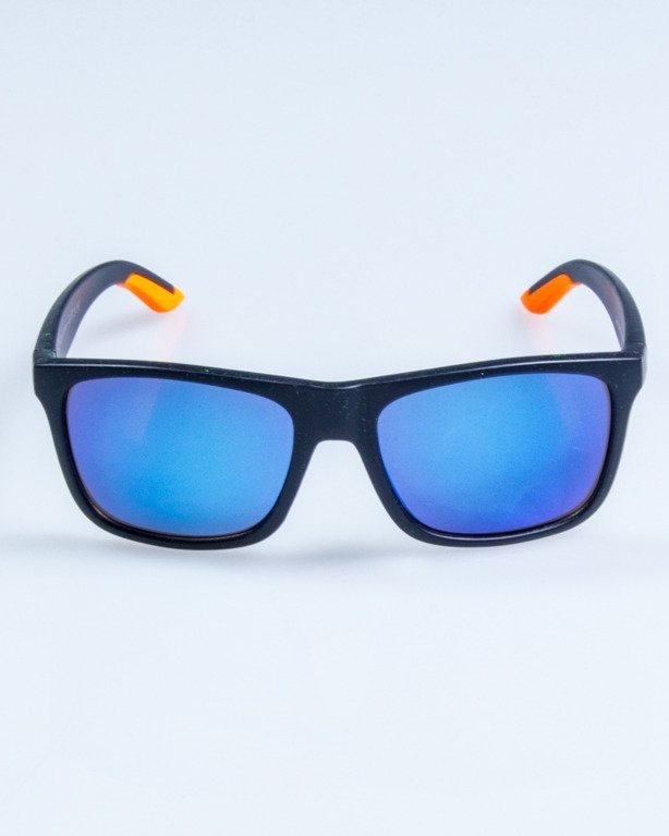 OKULARY SPORT BLACK-ORANGE MAT BLUE MIRROR 767